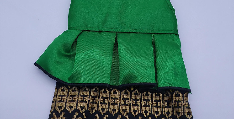 Emerald green with Black & Gold Songket Size XXS