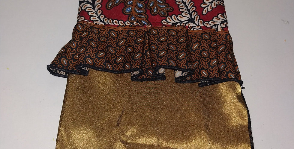 Sleeveless Red and Brown Batik Size XS