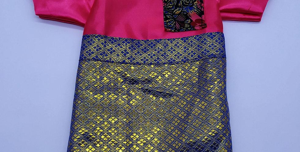 Fuchia Cekak Musang with Samping Size M