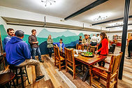 hostel guests socializing in lounge
