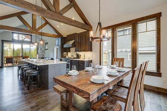 dining room kitchen in rustic mountain home