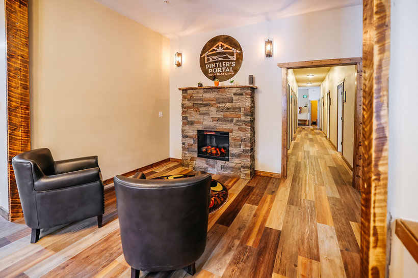 hotel entrance with fireplace