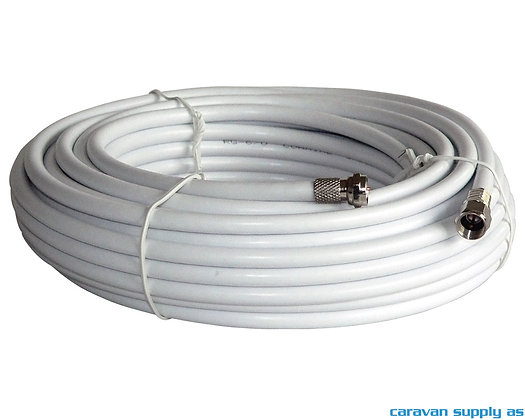 Koaxkabel m/2stk f-connector 6,5mm m/hette rull á 25m