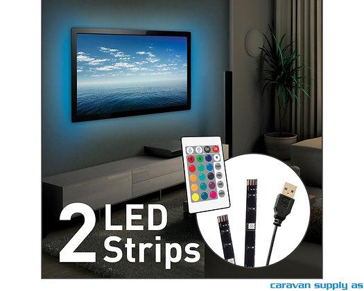 """Lysstripe LED USB til 65"""" TV 2x50cm 16 farger L15"""