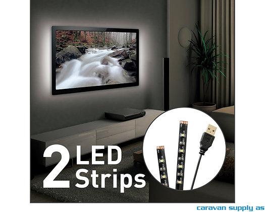 "Lysstripe LED USB til 80"" TV 2x50cm hvit L10"