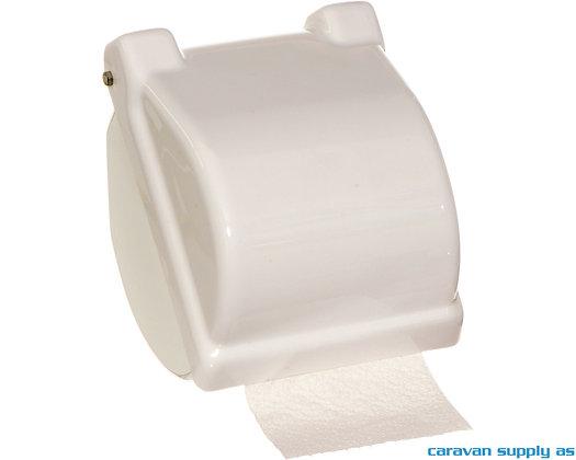 Toalettrullholder m/deksel hvit