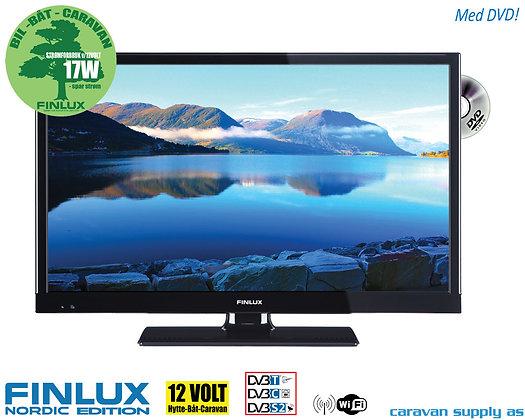 """TV Finlux 22"""" LED med DVD 230V/12V T/C/S2 Smart+WIFI 17/22W"""