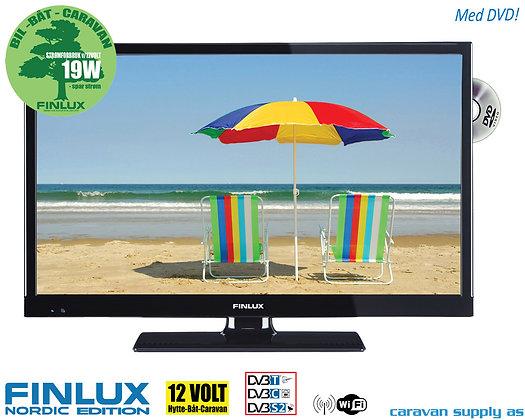 """TV Finlux 24"""" LED med DVD 230V/12V T/C/S2 Smart+WIFI 19/24"""