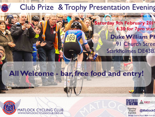 Trophy Return Time and Prize Presentation Evening Saturday 9th February