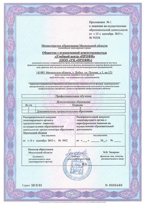 Приложение 1 к Лицензии