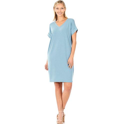 Rolled Sleeve Dress