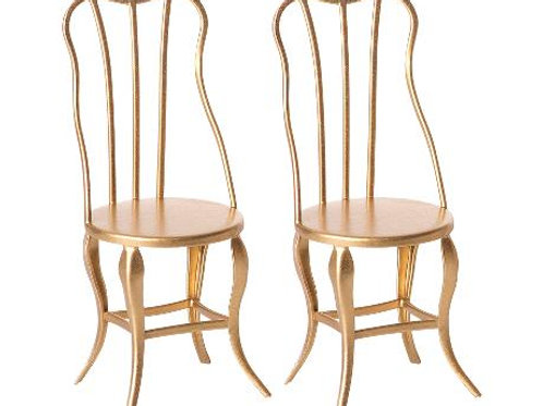 Maileg | Vintage Chair - Gold 2 Pack