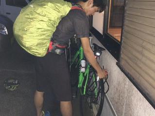 自転車で。
