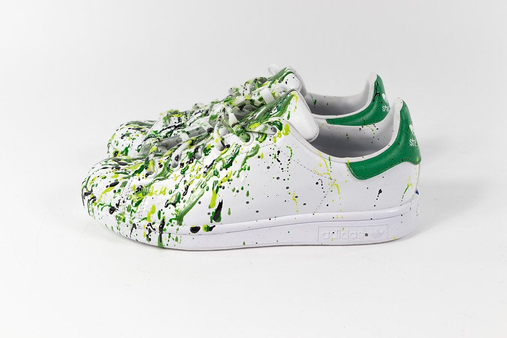 efe66b7c This amazing hand-painted pair of Adidas Stan Smith sneakers is stunning  with his dripping green colors paint.