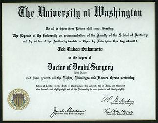 Dr. Sakamoto's UW dental diploma
