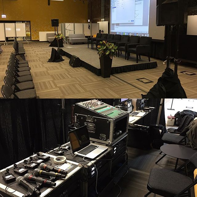 Sound system, stage, and podium set for this afternoon's event!