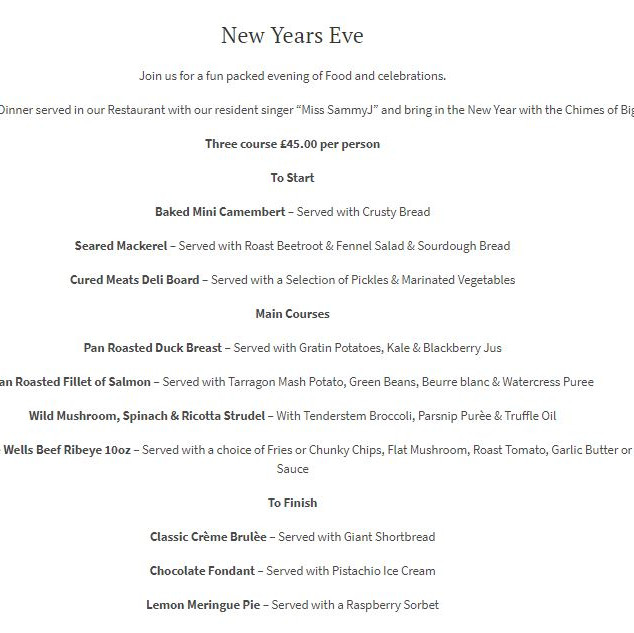 New Years Eve Menu | Apron Recruit