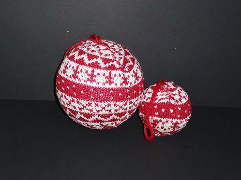 Conjunto 2 decorações natal bolas de malha - NL049