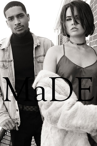MK and Kues in fashion editorial black and white couple spread on fire escape shot by MXJ Photography