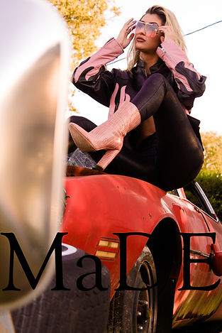 Love Island's Lakeyn for MaDE fashion editorial located at a junkyard shot by MXJ Photography