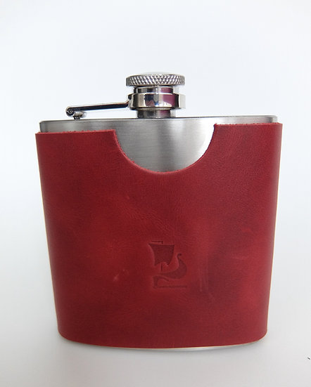 6oz Flask, stainless steel flask/ red leather protective slip