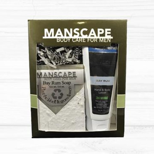 Manscape Bay Rum soap and lotion gift set