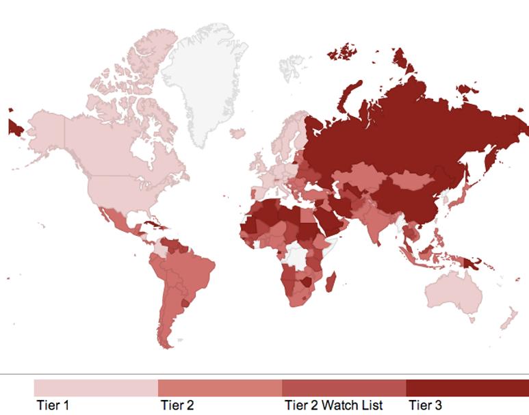 Modern Slavery world map - the Atlantic