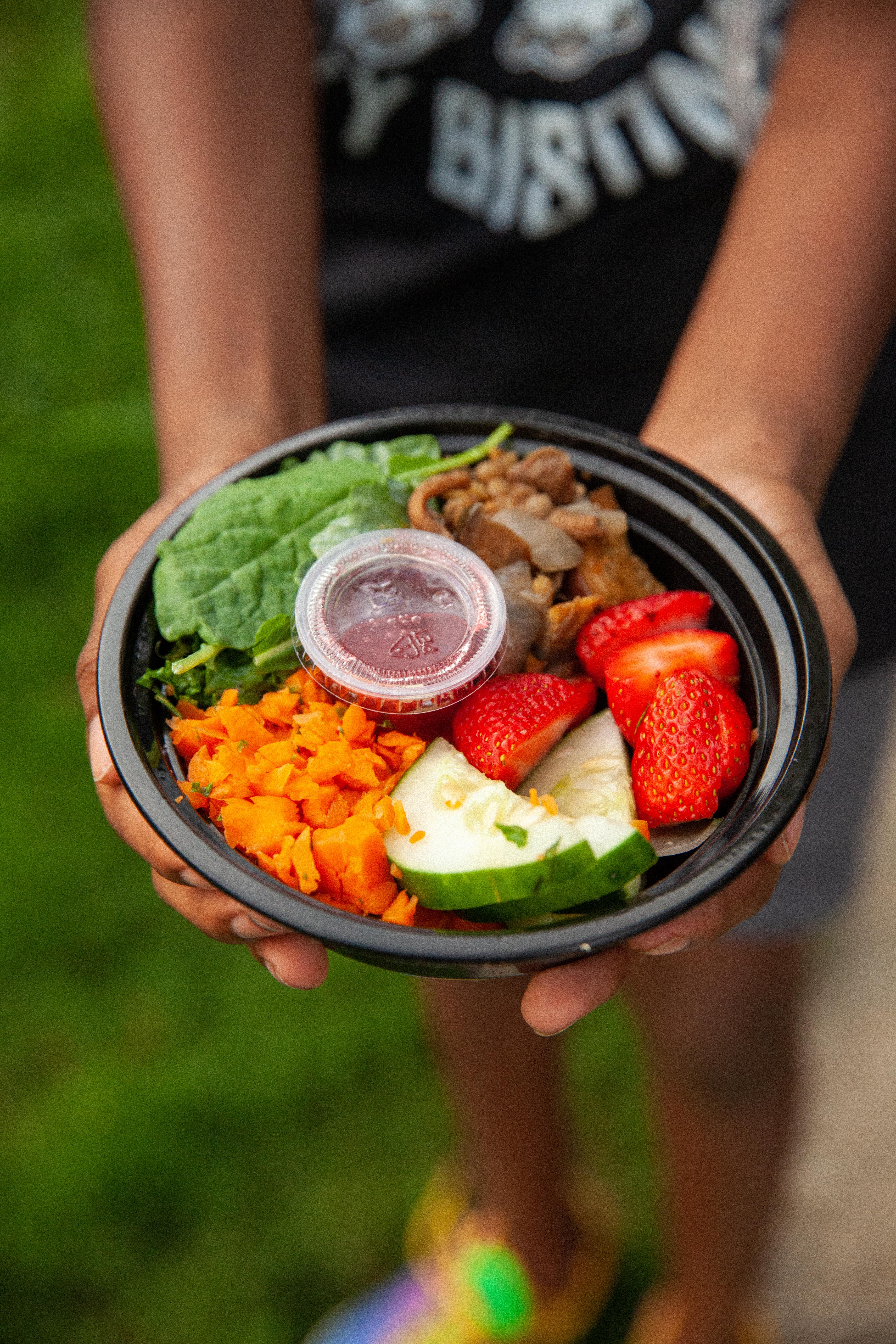 Kj holding salad