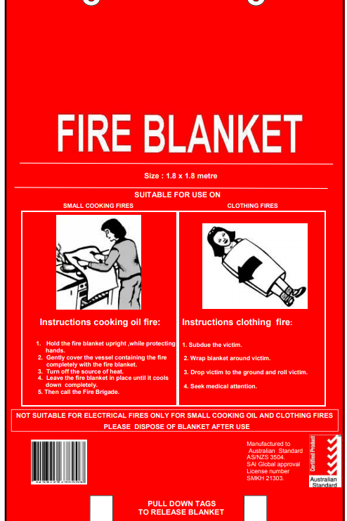 1.8m x 1.8m Fire Blanket - Fibre Glass