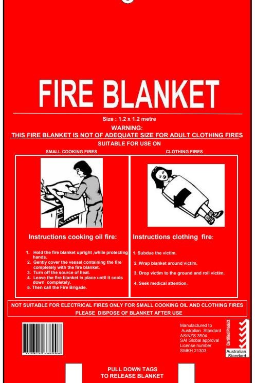 1.2m x 1.2m Fire Blanket - Fiber Glass