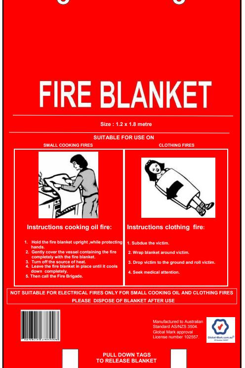 1.2m x 1.8m Fire Blanket - Fibre Glass