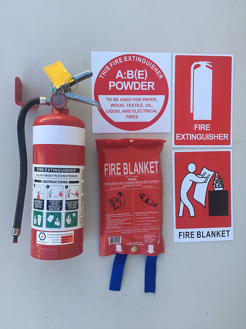 Fire Extinguisher Kit 2kg ABE Dry Powder 1 x 1 Fire Blanket Caravan House Boat