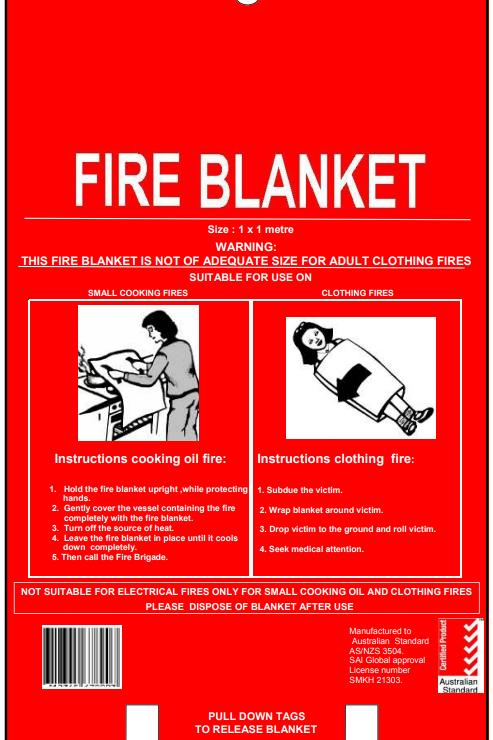 1m x 1m Fire Blanket - Fiber Glass