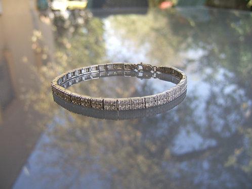 Tennis bracelet, Two lines , Zircons tiny, square tennis bracelet