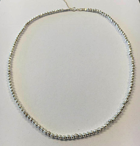 Silver necklace,Silver jewelry,Diamond cutting chain