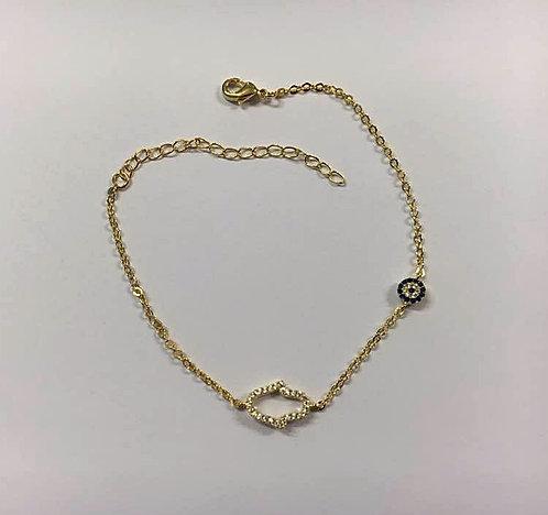 Hamsa bracelet , Gold-filled bracelet ,Crystals bracelet , Goldfilled