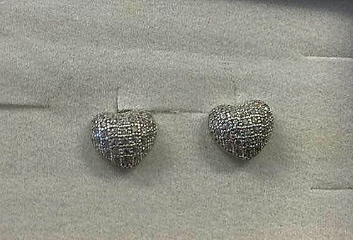 silver earrings , Zircons  earrings , Heart earrings , Silver j