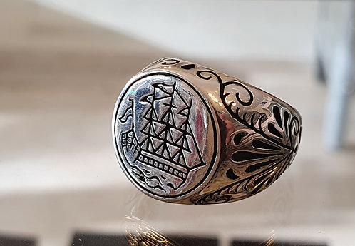Silver ship ring,925 silver ring ,Men ring,Gift for h
