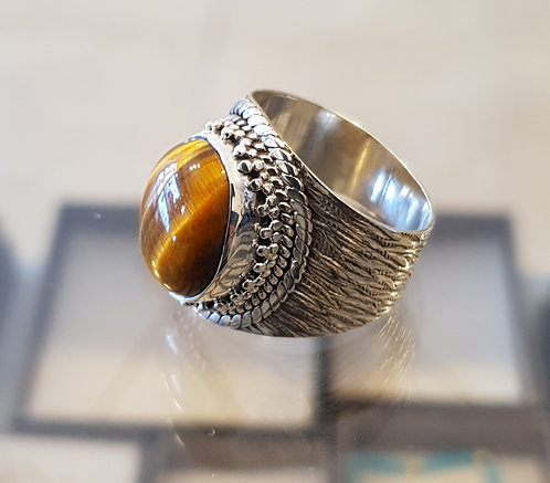 Tiger eye gemstone ​​ring,Gemstone ring,925 silver ring,Tiger eye ring