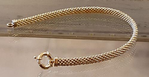 14K gold bracelet ,Gold gourmet bracelet, Ball meshed rope 14k gold bracele