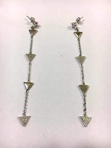 Long silver earrings , Dangle earrings ,Hanging triangles earrings