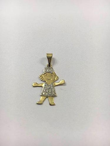 14K gold Pendant , A girl pendant ,  Gift for her