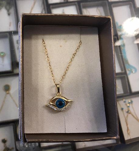 Eye pendant , Blue pendant , Eye pendant with zircons