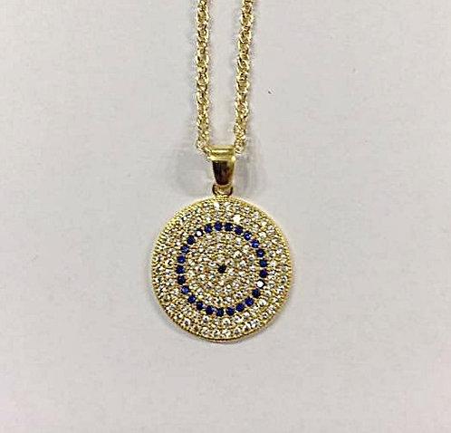 Eye pendant , Round pendant , Geometric  jewel , Round necklace