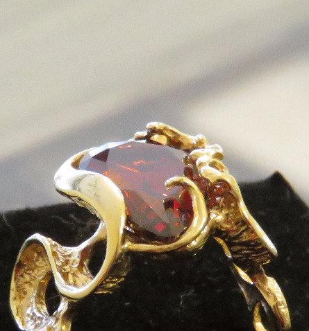 Garnet crystal ring ,Gold-filled  ring  ,Red ring