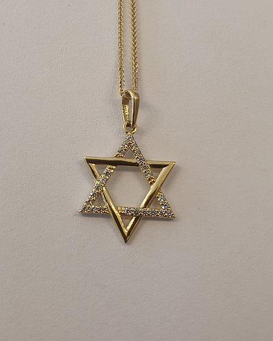 Star of David ,14K gold Pendant , Star of David pendant