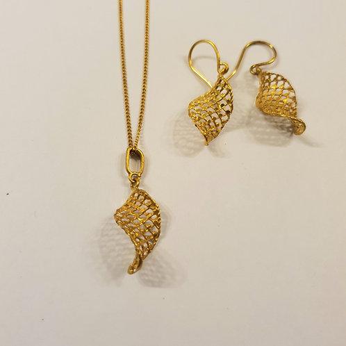Spiral Jewel set, Mesh jewelry, Goldfield  mesh set