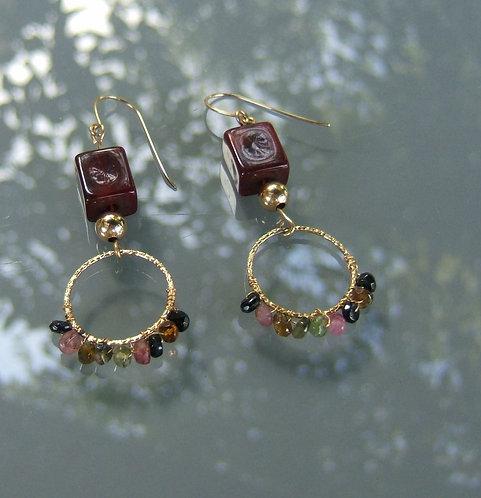 Goldfield earrings, Dangle errings, Tourmaline hoops earrings, Goldfield gamston