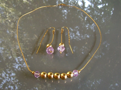 Goldfilled balls & Swarovski crystals set , goldfilled jewelry