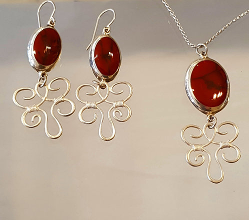 Red coral jewelry set, Silver 925 gemstone set,Natural coral stone